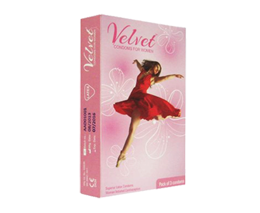 Velvet female condoms
