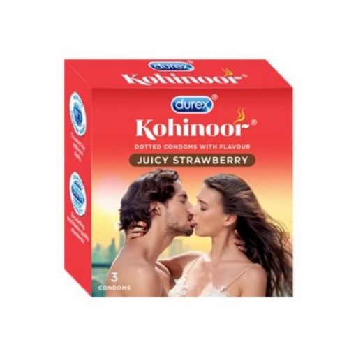 Durex Kohinoor Juicy Strawberry Flavoured Condoms 3s x 3