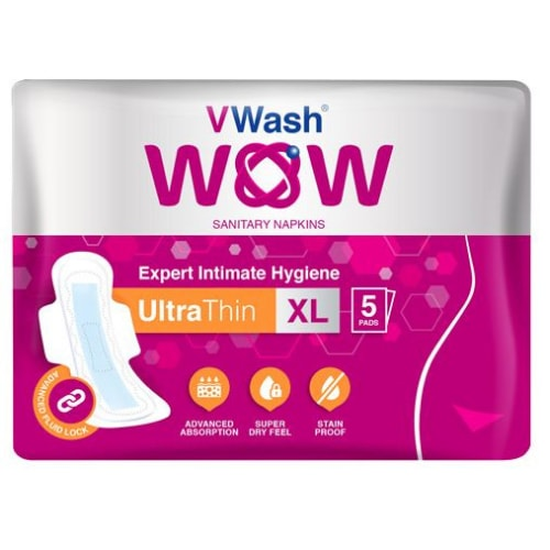 V Wash Wow Sanitary Napkin Ultra Thin -  XL Pack of 5 Pads