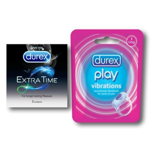 Durex Extra Time and Vibrating Ring Combo Pack