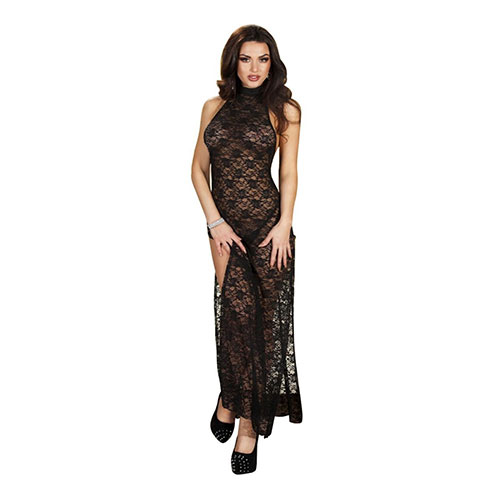 Black Floral Lace Sexy Gown with Slit