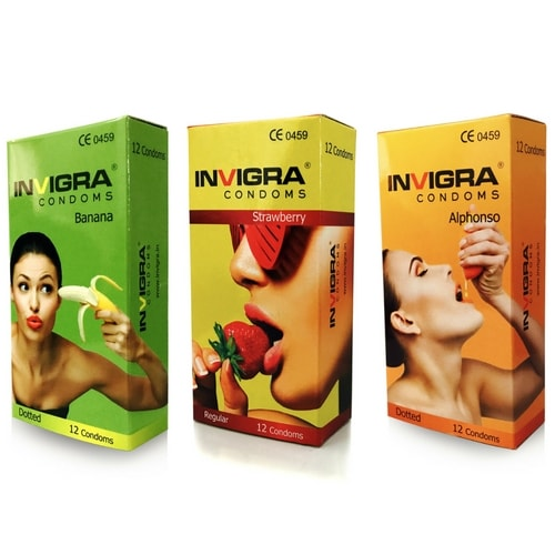 Invigra Combo Flavoured condoms | Strawberry Banana and Alphonso Flavours | shycart.