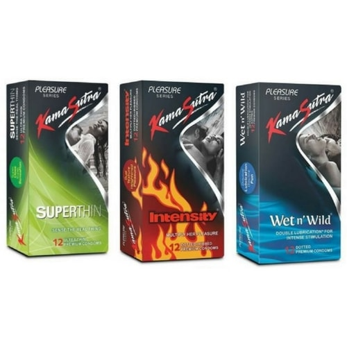 Kamasutra condoms combo pack 1 - super thin, intensity and wet n
