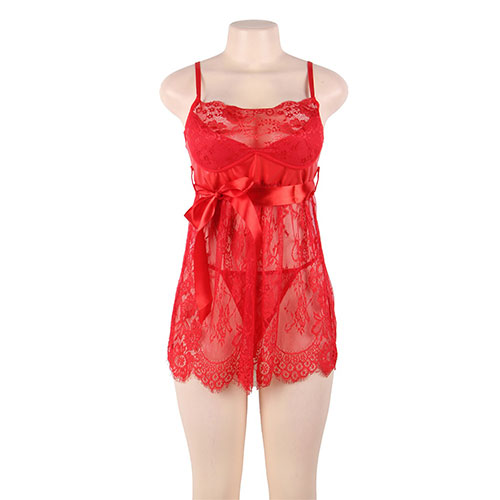 Sexy Red Eyelash Trim Lace Babydoll Set