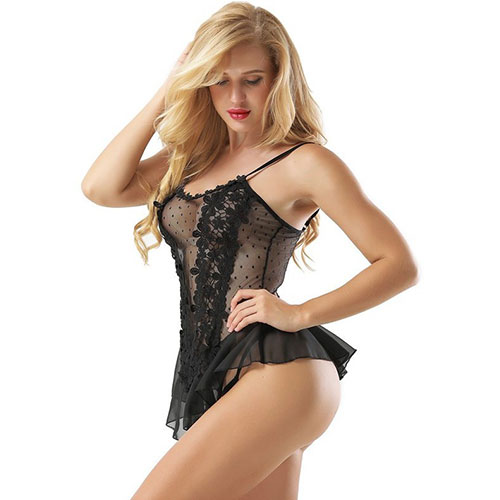 Black Stereoscopic Flower Lace Babydoll