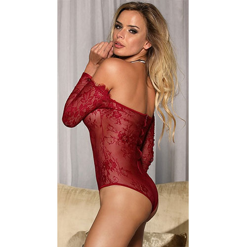 Red Eyelashes Lace Long-sleeved Teddy