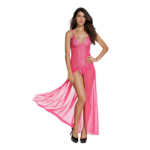 Sexy Pink Mesh And Lace V Neck Lingerie Gown