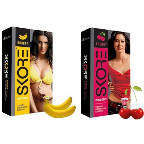Skore Banana And Cherry Condoms Combo |  Banana and Cherry Flavoured Condom At Online | shycart