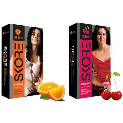 Check out Skore Flavoured Condoms Online In India | Orange and Cherry Flavoured Condoms | shycart