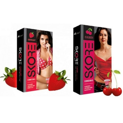 Skore Strawberry and Cherry Flavoured codoms