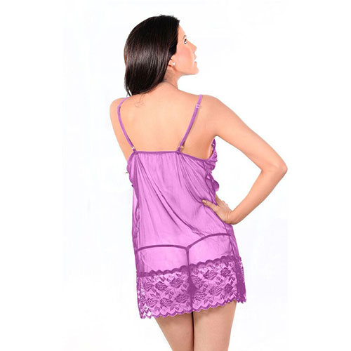 Purple Sheer Geometric Fishnet Cut-Out Lace Chemise Babydoll Dress
