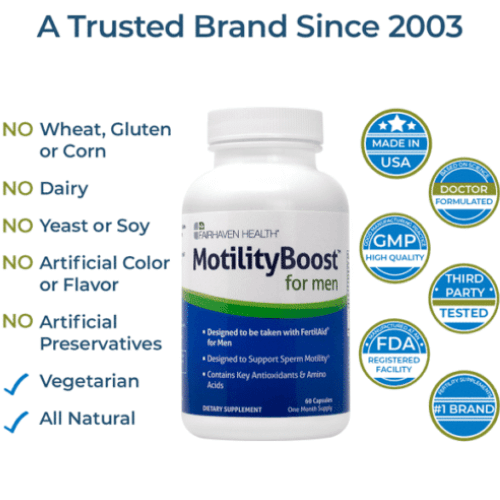 Sperm Motility Boost for Men - Motility Boost 60 capsules - Made in USA