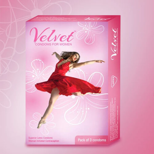 Velvet female condoms for women (ladies condom) x pack of 2.